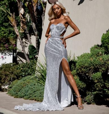 Strapless Sweetheart Side Slit Sequined Floor Length Prom Dresses_1