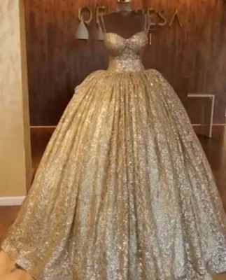 Golden Spaghetti Strap Sweetheart Backless Sequined A Line Prom Dresses | Ruffles Evening Gown_4