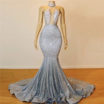 Glitter Halter Keyhole Neckine Applique Mermaid Prom Dresses | Floor Length Backless Evening Dresse_4