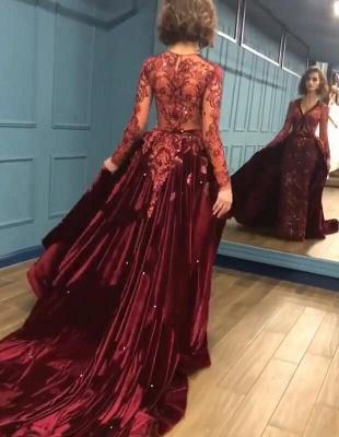 Sparkle V Neck Long Sleeve Sheath Prom Dresses | Applique Beades Evening Dresses_4