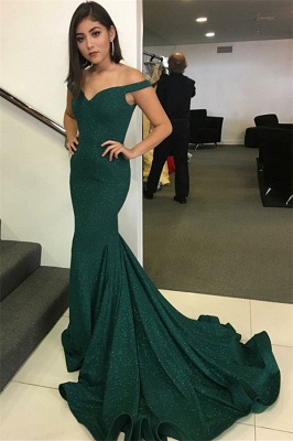 Dark Green Off The Shoulder Sweetheart Backless Mermaid Prom Dresses | Sequined Cheap Evening Gown