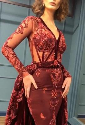 Sparkle V Neck Long Sleeve Sheath Prom Dresses | Applique Beades Evening Dresses_3