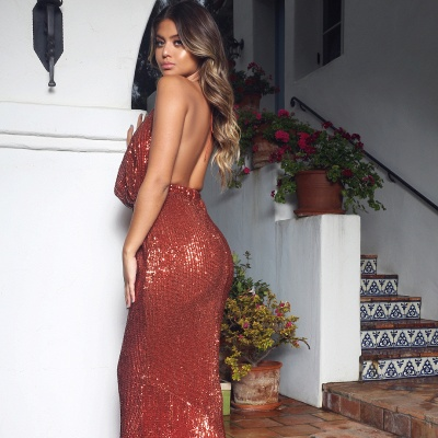 Halter Sleeveless Draped Neckline Sequined Fitted Prom Dresses_5