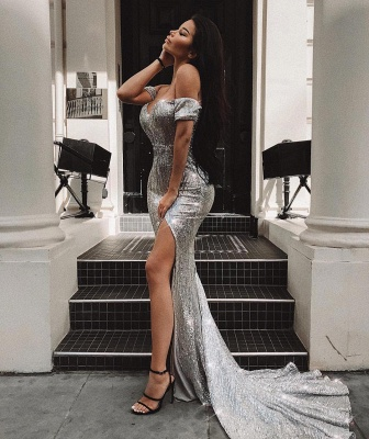 Off the Shoulder Sweetheart Side Slit Fitted Sequin Prom Dresses_1