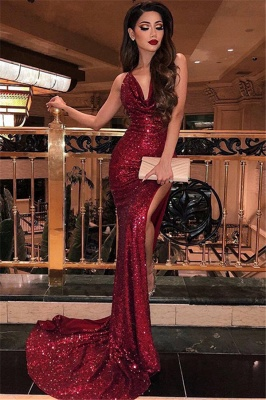 Burgundy Straps Sequined Front Slit Floor Length Sheath Prom Dresses