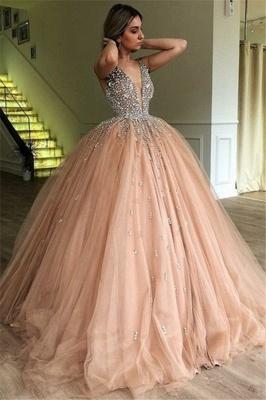 Sleeveless V-neck Beaded Tulle Ball Gown Prom Dresses_1