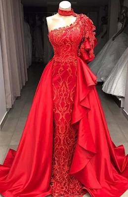 One-Shoulder Gorgeous High Neck Prom Gowns | Overskirts Mermaid 2020 Party Dresses