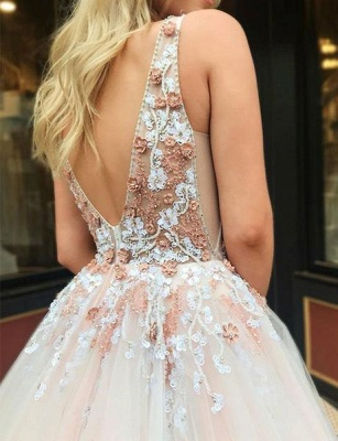 Straps V-neck A-line Appliques Tulle Puffy Prom Dresses_5