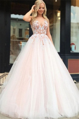Straps V-neck A-line Appliques Tulle Puffy Prom Dresses