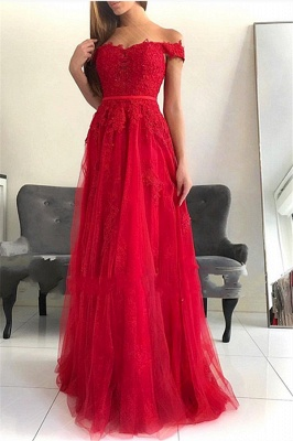 Off the Shoulder Floor Length Lace Appliques Tulle Red Prom Dresses
