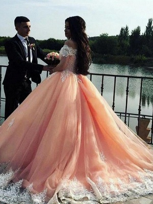 Pink Glamorous Off The Shoulder Ball Gown Prom Dresses | Applique Sweep Train Evening Dresses_3