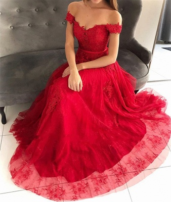 Off the Shoulder Floor Length Lace Appliques Tulle Red Prom Dresses_4