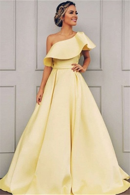 One Shoulder A Line Sweep Train Prom Dresses With Sash_1