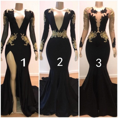 Deep V-neck Long Sleeves Thigh Slit Sweep Train Black Prom Dresses_3