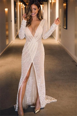 Sparkly V Neck Sequin Long Sleeve Slit  Prom Dresses