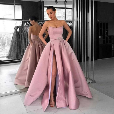 Solid Strapless A-line Thigh Slit Dusty Pink Long Prom Dresses_3