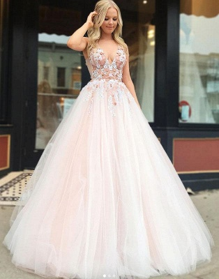Straps V-neck A-line Appliques Tulle Puffy Prom Dresses_3