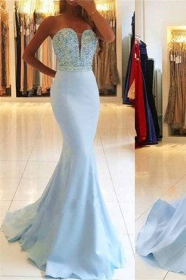 Strapless Sweetheart Backless Sweep-train Beading Mermaid Prom Dresses PD623_2