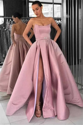 Solid Strapless A-line Thigh Slit Dusty Pink Long Prom Dresses_1