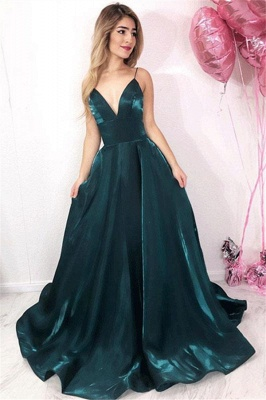 Dark Green Strappy V-neck A-line Floor Lenght Simple Prom Dresses