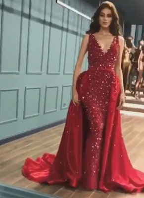Gorgeous V-neck Sleeveless Red Sequin Prom Dresses with Detachable Train_2