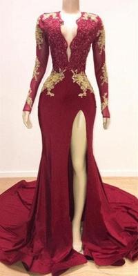 Long Sleeve Deep V Neck Appliqur Front Slit Sheath Prom Dresses | Backless Evening Dresses_3