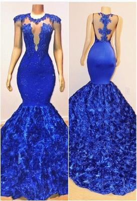 Royal Blue Cap Sleeve Lace Mermaid Prom Dresses | Beades Ruffles Evening Dresses_1