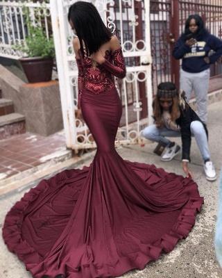 Burgundy Sexy Long Sleeve Mermaid Applique Beaded Prom Dresses_5