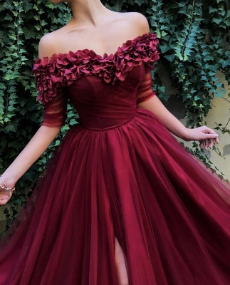 Burgundy Off The Shoulder 3/4 Sleeve Sweetheart Flower A Line Prom Dresses | Front Slit Party Dresses_3