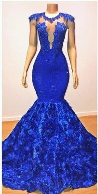 Royal Blue Cap Sleeve Lace Mermaid Prom Dresses | Beades Ruffles Evening Dresses_2
