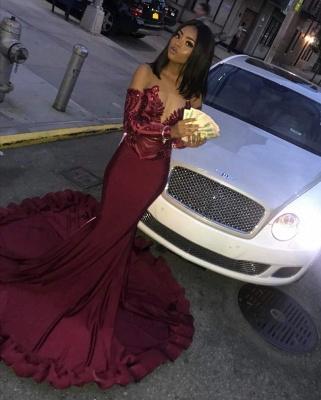Burgundy Sexy Long Sleeve Mermaid Applique Beaded Prom Dresses_4