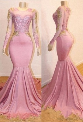 Pink Long Sleeve Appliques Prom Dresses | Elegant Mermaid Evening Gowns_3