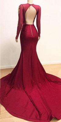 Long Sleeve Deep V Neck Appliqur Front Slit Sheath Prom Dresses | Backless Evening Dresses_4