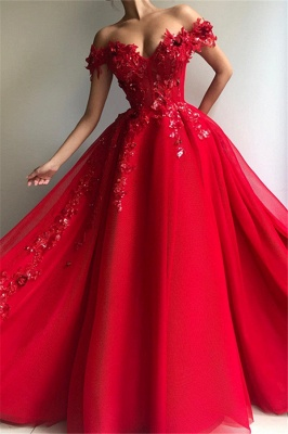 Eleagant Red Sweetheat Off The Shoulder Applique Crystal A Line Prom dresses_1