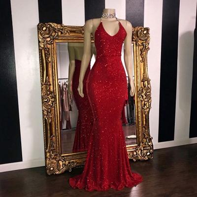 Glitter Halter Red Mermaid Prom Dresses | Sequined Floor Length Evening Dresses_2