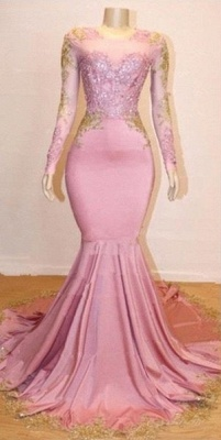 Pink Long Sleeve Appliques Prom Dresses | Elegant Mermaid Evening Gowns_1