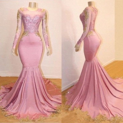 Pink Long Sleeve Appliques Prom Dresses | Elegant Mermaid Evening Gowns_4