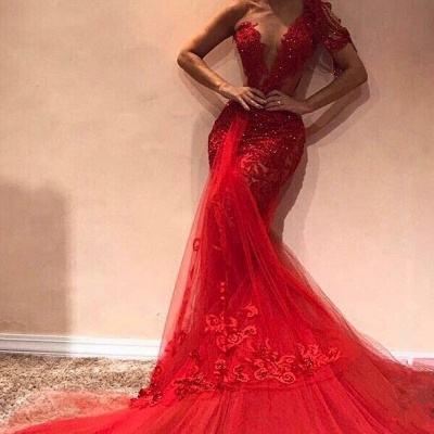 Red Off The Shoulder Applique Beading Sequined Mermaid Prom Dresses_2