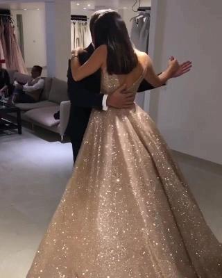 Sparkly V-neck Sleeveless Floor Length A-line Sequin Prom Dresses_4