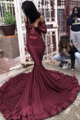 Burgundy Sexy Long Sleeve Mermaid Applique Beaded Prom Dresses_3