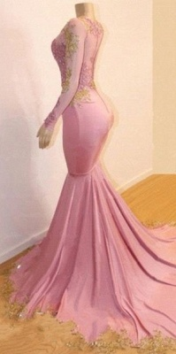 Pink Long Sleeve Appliques Prom Dresses | Elegant Mermaid Evening Gowns_2