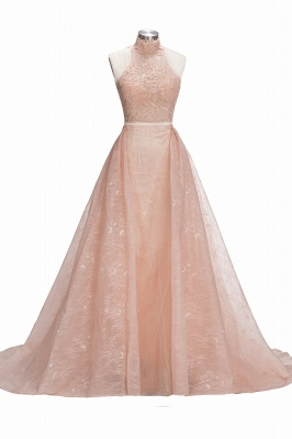 Illusion Overskirt Sheath Popular Unique High-Neck Sleeveless Puffy Lace Prom Dress_5