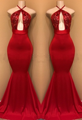 Sexy Red Sequin Prom Dresses | Halter Keyhole Neck Mermaid Evening Gowns_2