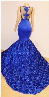 Royal Blue Cap Sleeve Lace Mermaid Prom Dresses | Beades Ruffles Evening Dresses_3