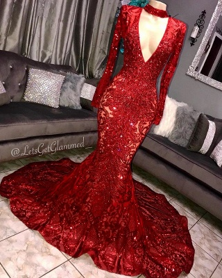 Luxury Long Sleeve Applique Beading Sequined Mermaid Prom Dresses | Deep V Neck Evening Gown