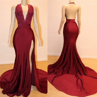 Halter Bungurdy Lace Beaded Front Slit Mermaid Prom Dresses | Cheap Backless Evening Dresses_2
