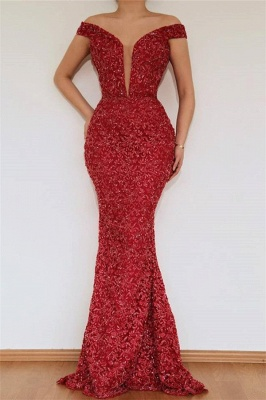 Burgundy Off The Shoulder Prom Dresses | Beaded Floor Length Evening Dresses With Detachable Skirt_2