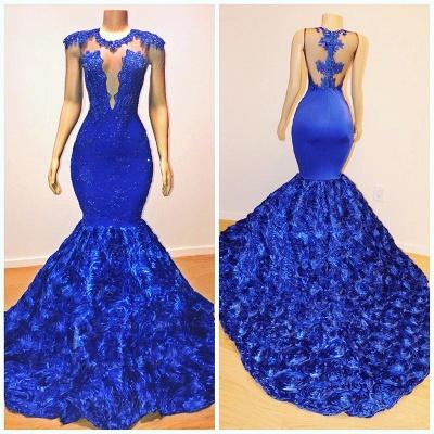 Royal Blue Cap Sleeve Lace Mermaid Prom Dresses | Beades Ruffles Evening Dresses_4