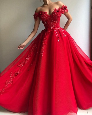 Eleagant Red Sweetheat Off The Shoulder Applique Crystal A Line Prom dresses_2