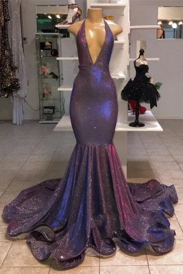 Glitter Halter Deep V Neck Mermaid Prom Dresses | Sleeveless Sequined Evening Dresses_1